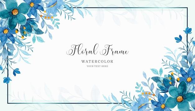 Fundo do quadro floral azul com aquarela