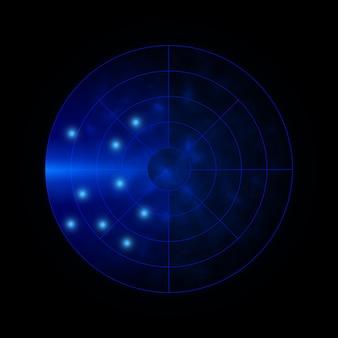 Fundo do radar. sistema de busca militar. visor de radar do hud. ilustração vetorial