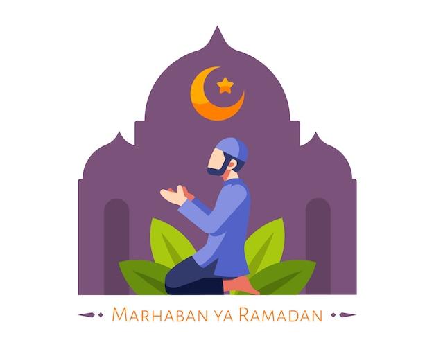 Fundo do ramadã com homem muçulmano rezar na mesquita