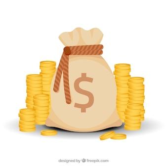 Fundo do saco de dinheiro com moedas