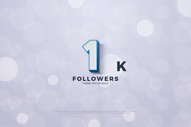 Fundo do seguidor 1k com ilustração da figura em relevo e borda azul em negrito. Vetor Premium