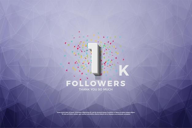 Fundo do seguidor 1k com papel de cristal roxo.