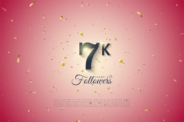 Fundo do seguidor de 7k com números sombreados em branco suave.