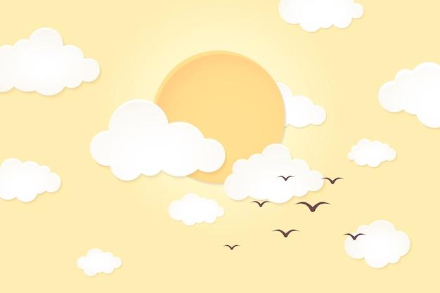 Fundo do sol de verão, vetor de design 3d amarelo