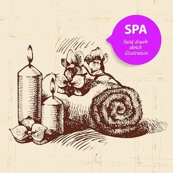 Fundo do spa. ilustração de esboço desenhado à mão vintage