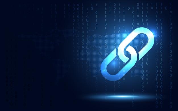 Fundo do sumário da rede do bloco do cryptocurrency do fintech da tecnologia de blockchain. o bloco de links contém dados de criptografia e hash de criptografia