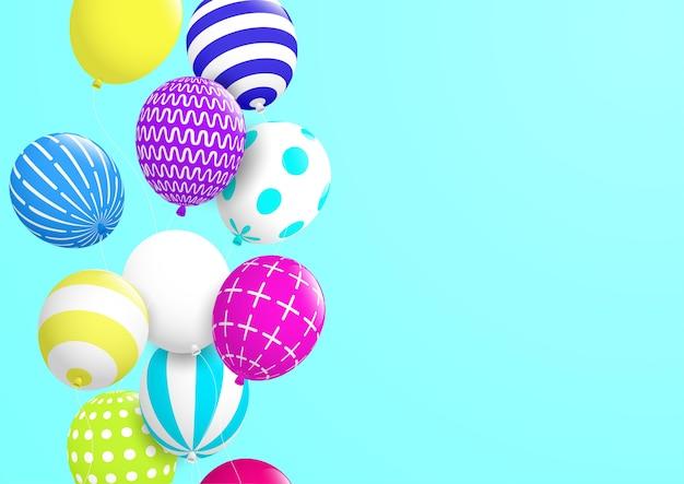 Fundo do sumário e das celebrações com o balão decorativo colorido. vetor eps10.