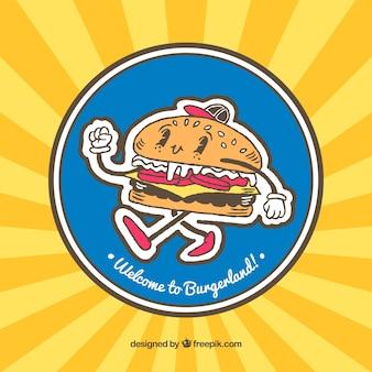 Fundo do sunburst com caráter feliz do hamburguer
