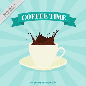 Fundo do sunburst com chávena de café