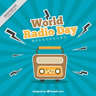 Fundo do sunburst para o dia de rádio mundo