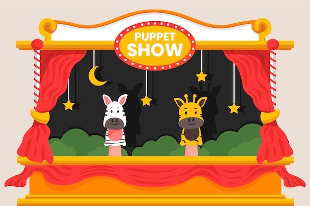 Fundo do teatro de fantoches dos desenhos animados