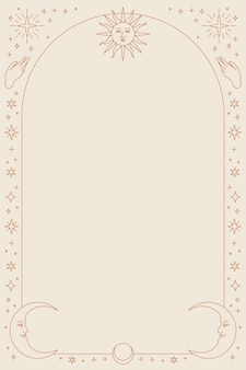 Fundo do telefone dos ícones celestiais com moldura bege
