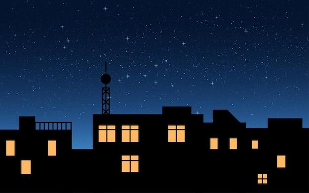 Fundo do telhado do edifício e do céu noturno