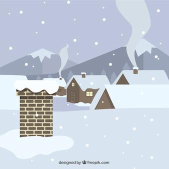Fundo do telhado e as casas cobertas com neve no design plano