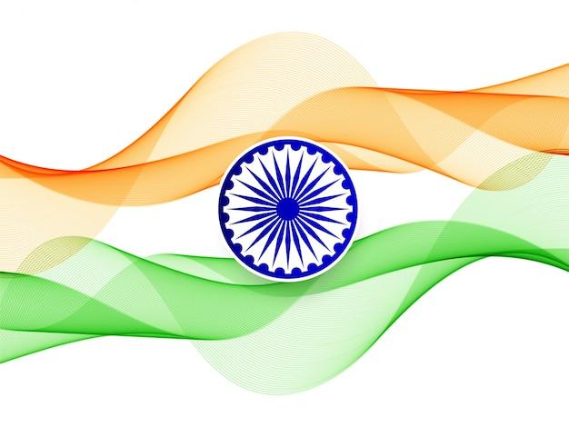 Fundo do tema elegante ondulado bandeira indiana