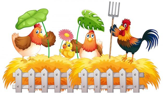 Fundo do tema fazenda com animais da fazenda Vetor Premium