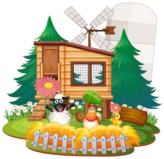 Fundo do tema fazenda com animais da fazenda