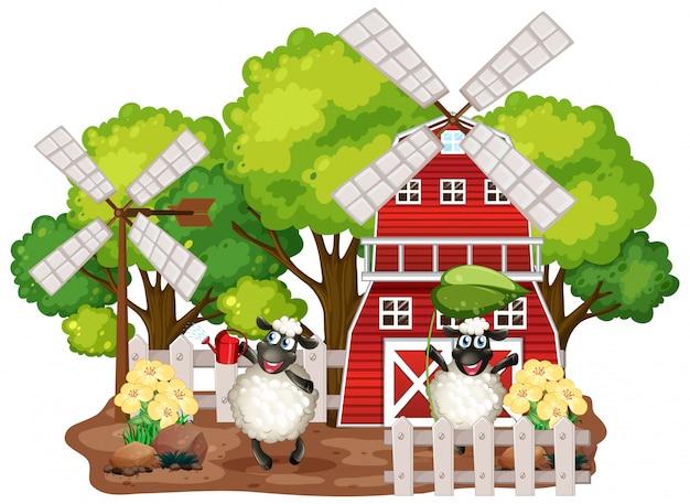 Fundo do tema fazenda com animais da fazenda Vetor grátis