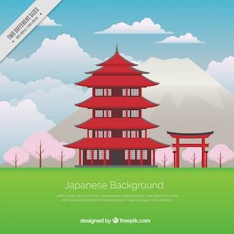 Fundo do templo japonês