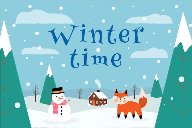 Fundo do tempo de inverno desenhado à mão
