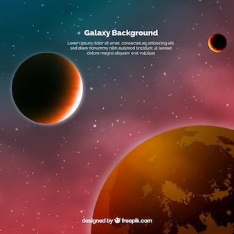 Fundo do universo com planetas de tons avermelhados
