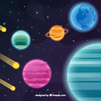 Fundo do universo com planetas e meteoritos