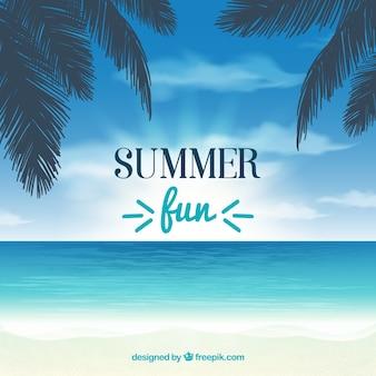 Fundo do verão com palmeiras e mar