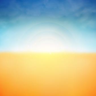 Fundo do verão da luz do sol e do fundo da praia da natureza das nuvens.