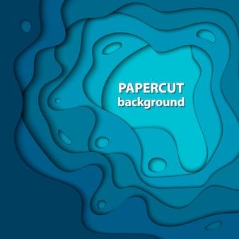 Fundo do vetor com corte azul profundo do papel da cor.
