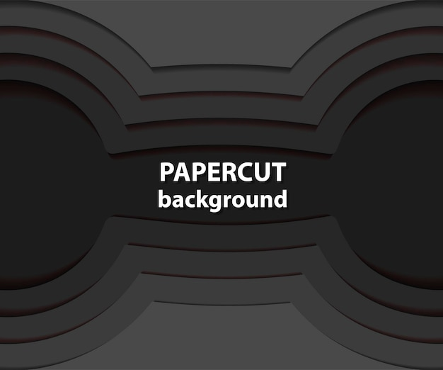 Fundo do vetor com formas de corte de papel preto. estilo de arte em papel abstrato 3d, layout de design para apresentações de negócios, folhetos, pôsteres, gravuras, decoração, cartões, capa de brochura.