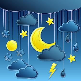 Fundo do vetor com ícone do clima noturno