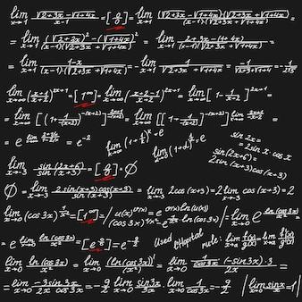 Fundo do vetor com símbolos matemáticos brancos em um quadro negro