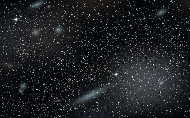 Fundo do vetor do céu à noite com estrelas, nebulosa e galáxias