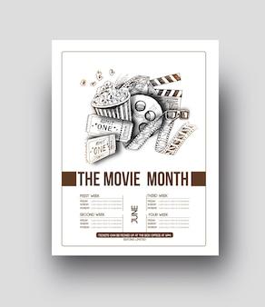 Fundo do vetor do modelo do folheto do mês do filme