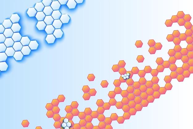 Fundo do vetor do mosaico volumétrico do favo de mel. cenário decorativo hexagonal azul e laranja