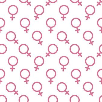 Fundo do vetor do teste padrão sem emenda do ícone do símbolo sexual feminino. padrão de símbolo de gênero feminino