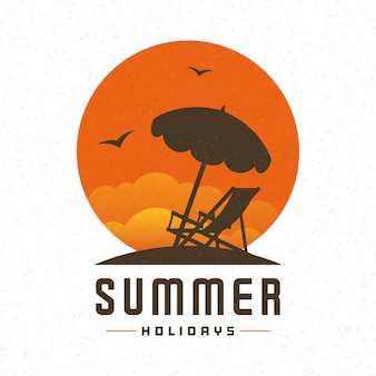 Fundo do vetor do verão da cadeira da praia e da espreguiçadeira.
