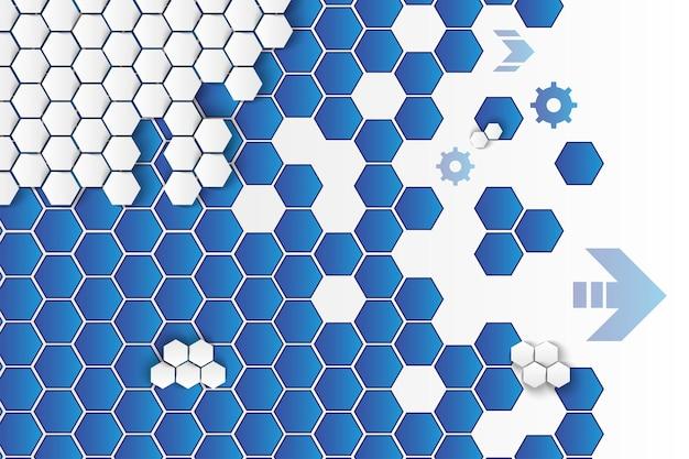 Fundo do vetor dos hexágonos e das rodas dentadas. cenário de favo de mel minimalista em azul e branco com seta