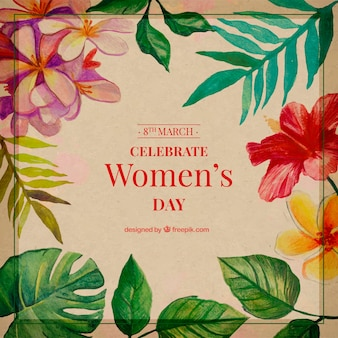 Fundo do vintage das folhas da aguarela para o dia da mulher