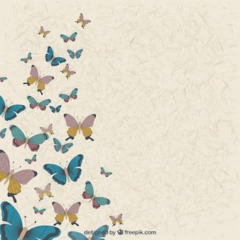 Fundo do vintage de borboletas desenhadas à mão