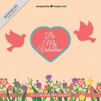 Fundo do vintage de flores e coração com pombos