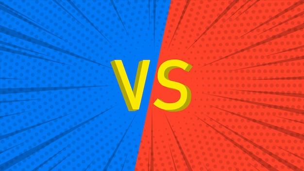 Fundo do vs. versus design de tela. estilo pop art.