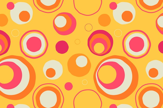 Fundo dos anos 60, vetor de desenho de círculo abstrato