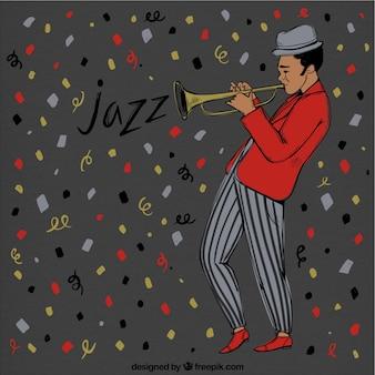 Fundo dos confetes e trompetista de jazz