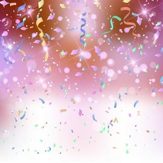 Fundo dos confetes wth e flâmulas
