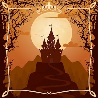 Fundo dos desenhos animados com o castelo no monte