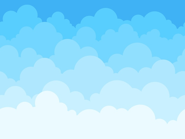 Fundo dos desenhos animados do céu da nuvem. céu azul com nuvens brancas pôster ou panfleto, cloudscape panorama padrão textura perfeita