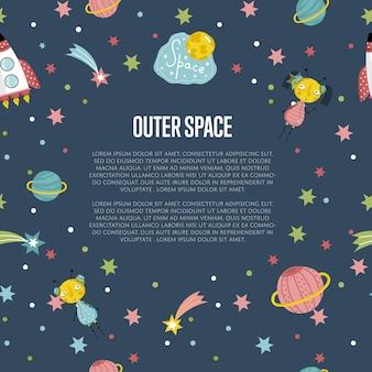 Fundo dos desenhos animados do espaço sideral com modelo de texto