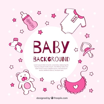 Fundo dos elementos do bebê em estilo desenhado a mão