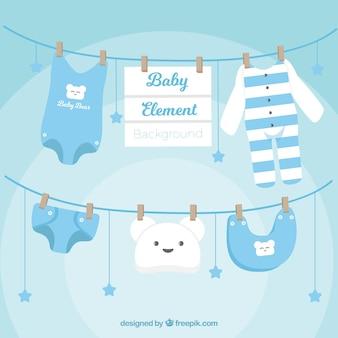 Fundo dos elementos do bebê em estilo plano